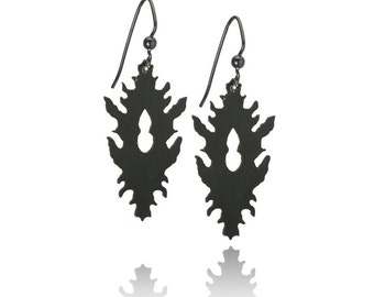 Black rorschach inkblot inspired powdercoated dangle earrings