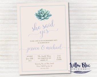 Succulent Engagement Party Invitation #602, She Said Yes Engagement, Printable Invitation, Engagement Party Invitation