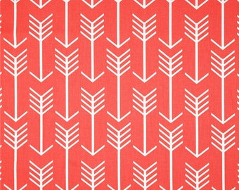 Premier Prints Arrow Coral and White Home Decor Arrows Fabric - Fabric by the 1/2 yard