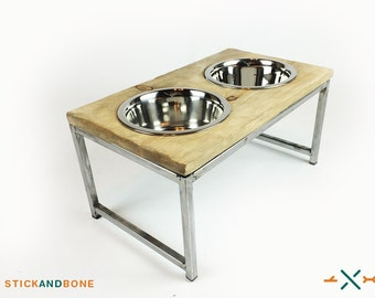 Industrial Dog Dish, Elevated dog feeder, Rustic Dog Bowl, Raised pet feeder, Gift for pet lover, Raised feeder, dog bowl stand, dog dishes