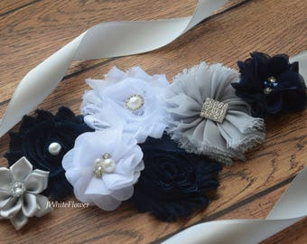 Flower Sash, navy grey white Sash, #5,flower Belt, maternity sash, wedding sash, maternity sash girl, flower girl sash, gray sash