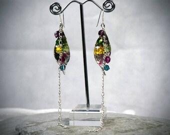 Leaf Earrings - Extra Long Earrings - Crystal Earrings - Colorful Earrings - Bohemian Jewelry - Rainbow Earrings - Silver Leaf Jewelry
