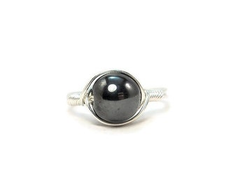 Lg Magnetic Hematite Argentium Sterling SilverWire Wrapped Ring Stone Ring