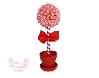 Red Lollipop Topiary, Red Candy Topiary, Red Wedding Centerpiece, Red Candy Buffet, Red Wedding Decor, Lollipop Tree, Candy Tree, Birthday