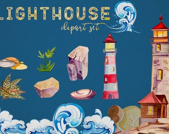 Watercolor Lighthouse Clipart Set,Retro,Waves,Nautical Clipart,Stones,Trees,Forest,Sea Clipart,Digital Scrapbooking,PNG,Transparent