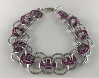Sale 25% off Purple and Silver Helm Chain Chainmaille Bracelet