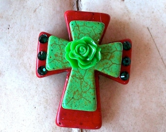 Large Stacked Red Stone Cross with Lime Green Stone Cross, Rose, and Bling