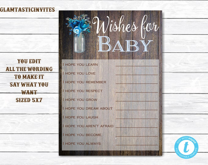 Wishes for Baby, Wishes for Baby Game, Baby Shower Game, Rustic Baby Shower, Rustic Baby Shower Games, Rustic Baby Shower Template, Template