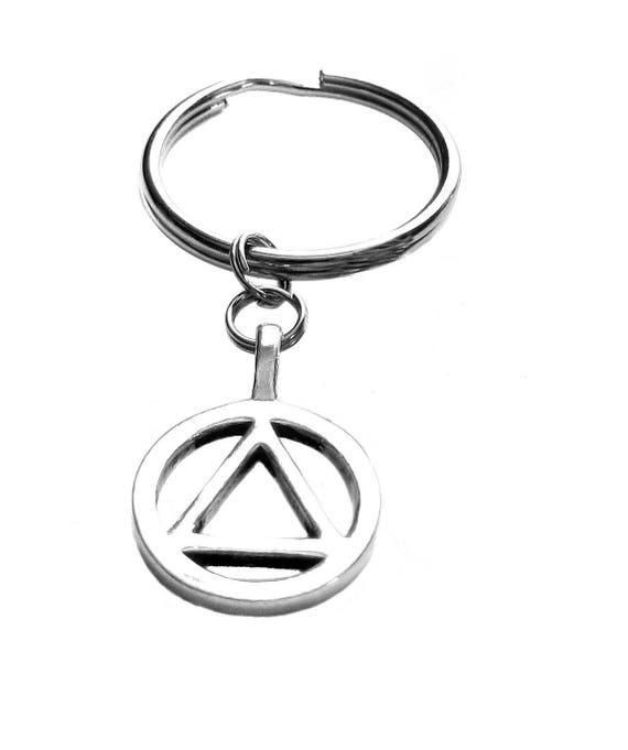 Pewter Aa Symbol 12 Step Charm Keychain Bag Charm Recovery