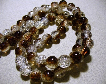 Crackle Glass Beads Brown and White 8MM