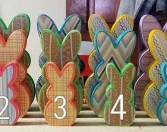 PEEPS BUNNY Shelf Sitter Set- Wooden Bunny, Wooden Easter Decor, Easter Decor, Bunny Shelf Sitter, Easter Decorations, Easter Mantle Decor
