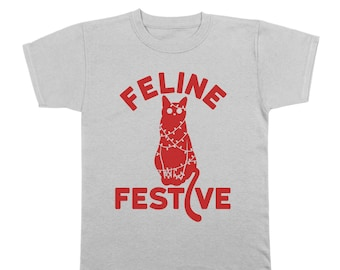 Feline Festive Funny Christmas Cat Xmas Cute Youth T-Shirt DT1653