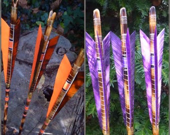 Heavy Hitters / 3 arrow set / 70-75lb spine / Fire-tempered crested arrows / Traditional wood archery arrows / Multiple colors available
