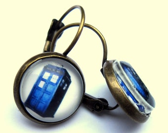 Tardis Doctor Who Earrings Blue Phone Box Glass Fashion Jewelry