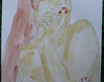 "drawing ink and watercolor painting ""pensive"" erotic nude"