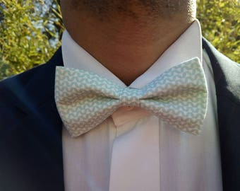 "Bow tie adult ""ZUKO"" wave green white zigzag"