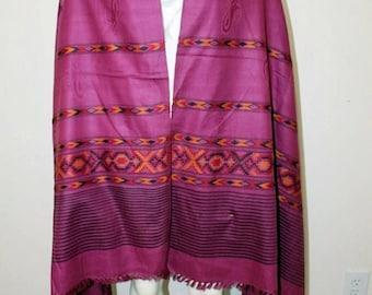 Pink Stole Shawl Wrap Southwestern Sofa Throw with Fringes