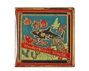 UNDERWATER WORLD vintage lapel  enamel pin New Jersey