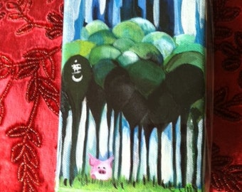 Pig Art. Little PiG BiG CiTY.  4 X 6 Inch Handmade Painting on Canvas. Cute Pink Pig in Central Park. NYC. Illustration. NYC Skyline