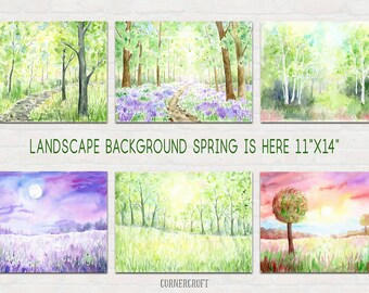 """Watercolor Landscape Background  """"Spring is here"""", spring woodland, bluebell wood, birchwood, night view for instant download"""