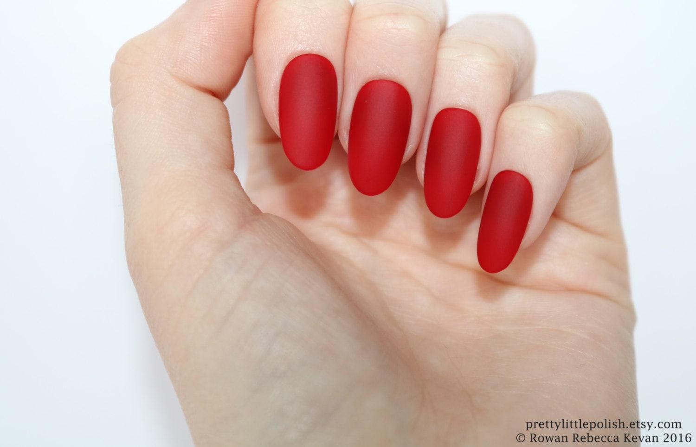 Matte red oval nails Nail designs Nail art Nails Stiletto