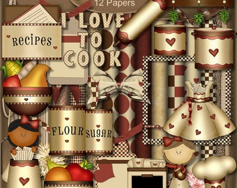 Digital Scrapbook Kit Kitchen Fun