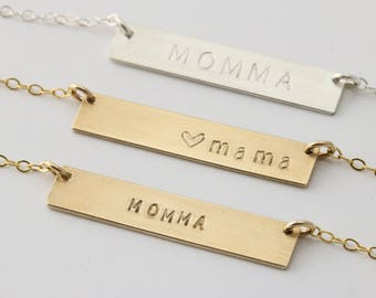 Mama Necklace Gold, Mama Bar Necklace, Mama Gold Name Plate, Gold Bar Necklace 14K, Gold Bar Necklace Stamped, Momma Necklace Horizontal Bar