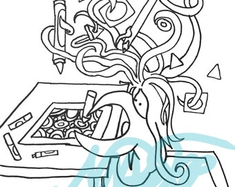 Hand Drawn Coloring Page: Tangled Self Portrait of a Colorist--this could be you! Coloring Pages for Adults