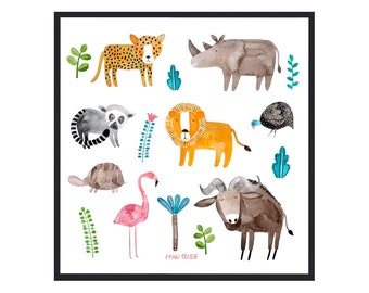 Poster *Animals of Africa* with lion, flamingo, leopard, rhino & more; nursery print; kids room poster, poster for children