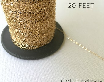 14K Gold Fill Chain - 20 FEET - Flat Cable Chain 1.3mm Wholesale, 20 Feet Gold Fill Chain, Flat Cable, Gold Chain, Gold Fill Chain [4026]