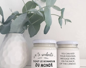 TOUT le BONHEUR du MONDE Soy Candle Gift | Friend gift | Custom Gift for her | French Gift | Vegan Gift | Eco Friendly Gift
