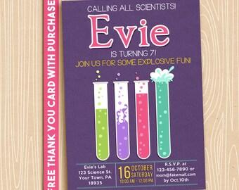 Science party invitation. Scientist invitation. 5x7 Digital printable. FREE THANK YOU Card!