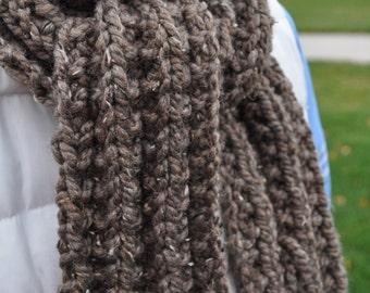 Chunky Brown Scarf - Mens Knit Scarf -  Ladies Winter Scarf - Womens Knit Scarf - Unisex Handknit Scarf - Cocoa - Taupe - Latte - Brown