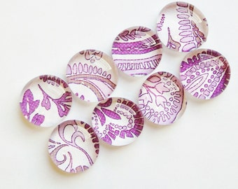 SALE Purple Paisley - set of 8 glass magnets