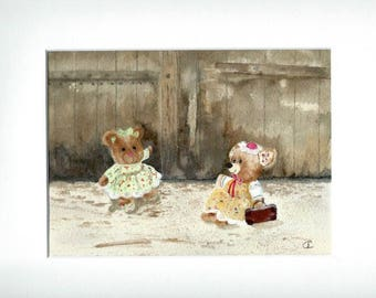 mouse in front of an old wooden door. Original watercolor Brown wall decorations for kids