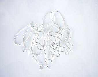 8 supports earrings silver 34x14mm brass Stud Earrings