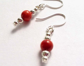Red Sponge Coral Gemstones, Silver Dangle Earrings