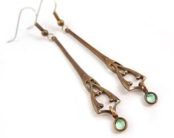 Art Nouveau Blue Green Jewel Long Earrings Alphonse Mucha Style Jewelry