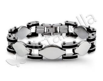 Mens Biker Rubber Stainless Steel Oval Link Bracelet