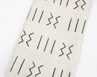 Mud Cloth Fabric, Black Print on White, Tribal design, Washed and Ready to Use!