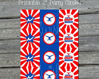 Ninja Cupcake Toppers | Ninja themed party circles | Red White and blue | Parkour Party | Instant Download