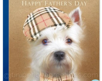 Westie Dad Father's Day Greeting Card West Highland White Terrier wearing Burberry Cap and bow tie