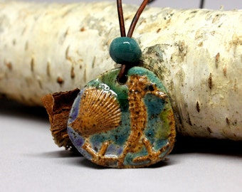 Beach Jewelry - Artisan Stoneware Clay Seahorse and Seashell Pendant on Leather Cord, Nautical Jewelry, Ocean Jewelry, Beach Boho