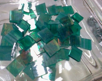 TEAL GREEN IRIDIZED Translucent Stained Glass Mosaic Tile Supply Z5