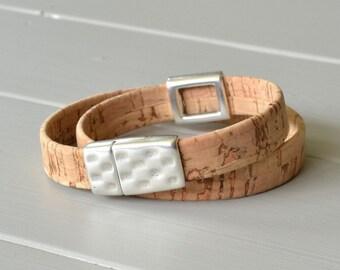 Cork Bracelet, Natural Cork Leather, Leather Wrist Strap, Wrist Wear, Portuguese Cork