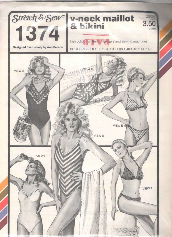 1980er Jahre Strecken & Nähen 1374 V Neck Maillot Badeanzug