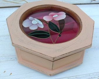 SALE! Blush Pink Jewelry Box Small Octagonal Vintage Floral Upcycled Painted Jewelry Box (111)
