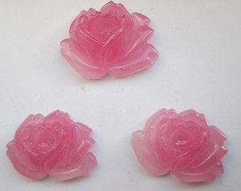 3 Pink Glass Rose Cabochons