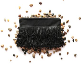 Black Canvas Clutch with Fringe
