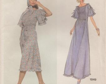 Vogue 1849 / Vintage Designer Sewing Pattern By Albert Nipon / Dress Gown Scarf / Size 12 Bust 34